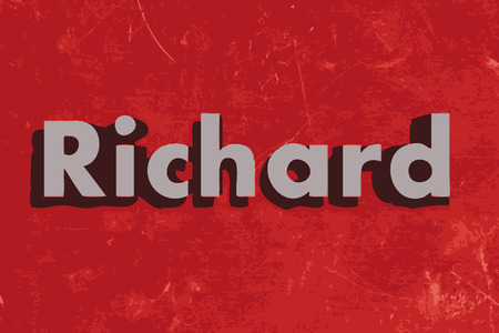 richard: Richard vector word on red concrete wall