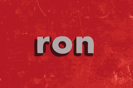 ron: ron vector word on red concrete wall Illustration