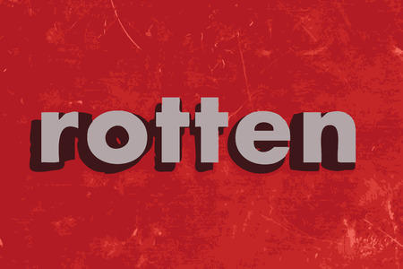 rotten: rotten vector word on red concrete wall