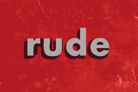 rude: rude vector word on red concrete wall