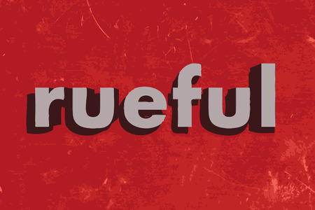 rueful: rueful vector word on red concrete wall