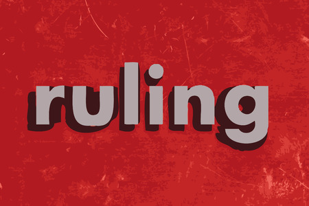 ruling: ruling vector word on red concrete wall
