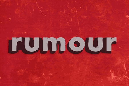 rumour: rumour vector word on red concrete wall