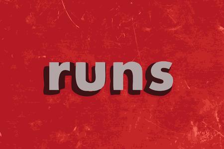 runs: runs vector word on red concrete wall