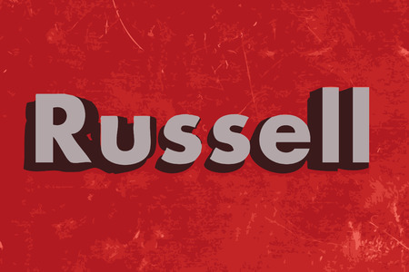 russell: Russell vector word on red concrete wall
