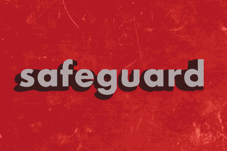 safeguard: safeguard vector word on red concrete wall Illustration