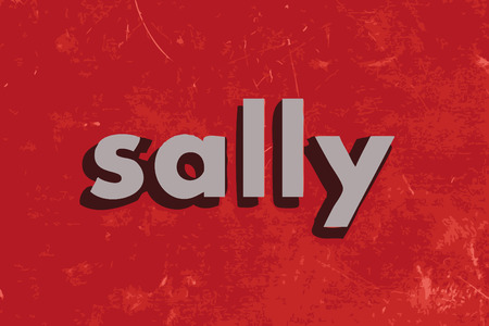 sally vector word on red concrete wall