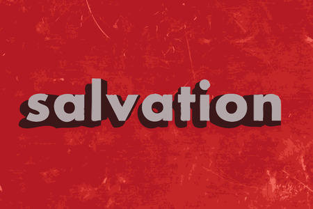 the salvation: salvation vector word on red concrete wall