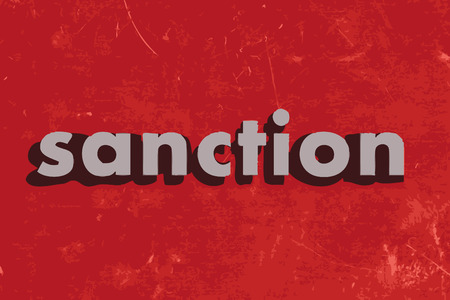 sanction: sanction vector word on red concrete wall