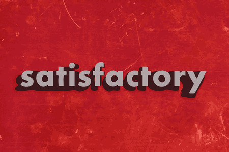 satisfactory: satisfactory vector word on red concrete wall
