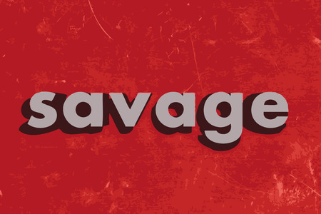 savage: savage vector word on red concrete wall Illustration