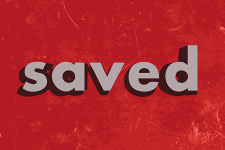 saved: saved vector word on red concrete wall Illustration