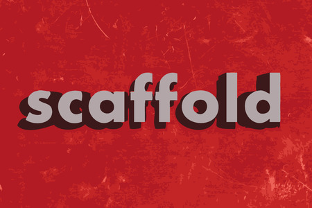 scaffold: scaffold vector word on red concrete wall Illustration