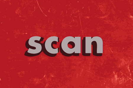 scans: scan vector word on red concrete wall