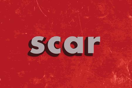 scar: litteken vector woord over de rode betonnen muur Stock Illustratie