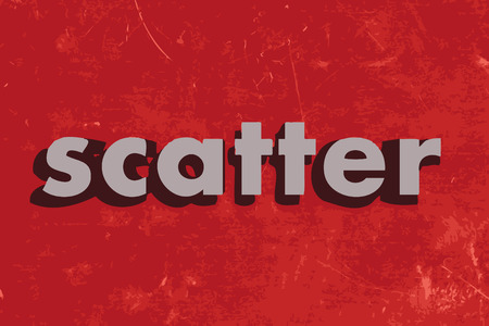 scatter: scatter vector word on red concrete wall