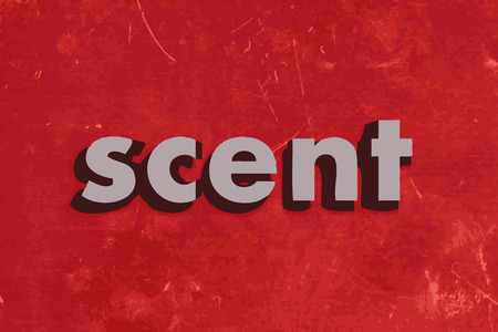 scent vector word on red concrete wall Illustration