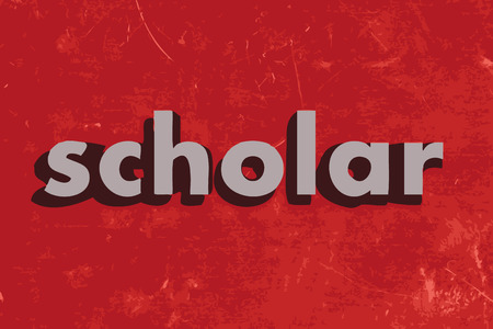 scholar: scholar vector word on red concrete wall
