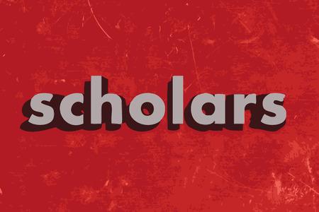 scholars: estudiosos vector palabra en rojo muro de hormig�n Vectores