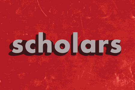scholars: scholars vector word on red concrete wall
