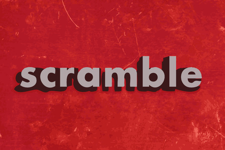 scramble: scramble vector word on red concrete wall