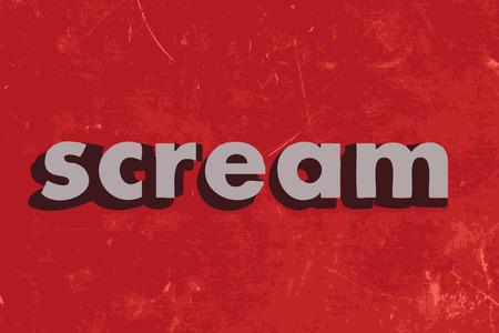 scream: scream vector word on red concrete wall