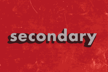 secondary: secondary vector word on red concrete wall