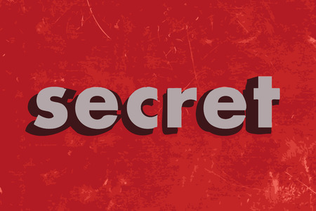 secret word: secret vector word on red concrete wall