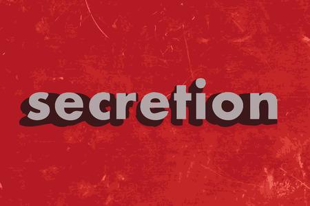 secretion: secretion vector word on red concrete wall Illustration
