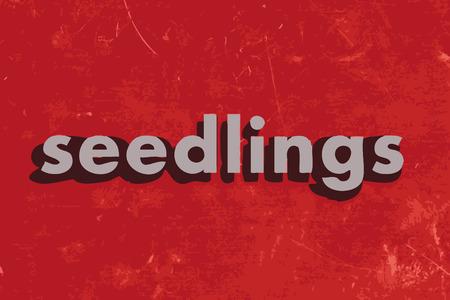 seedlings: seedlings vector word on red concrete wall Illustration