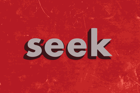 seek: seek vector word on red concrete wall