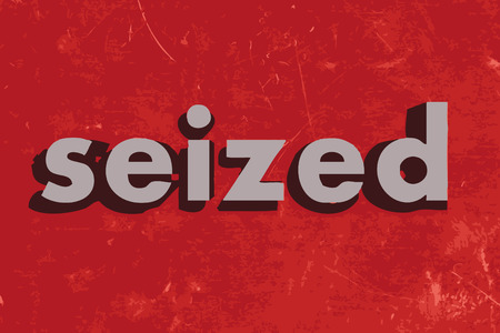 seized: seized vector word on red concrete wall Illustration