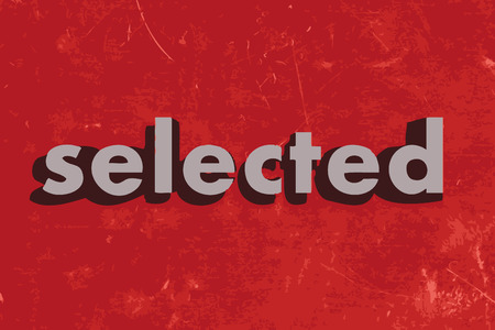 selected: selected vector word on red concrete wall Illustration
