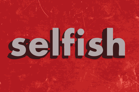selfish: selfish vector word on red concrete wall