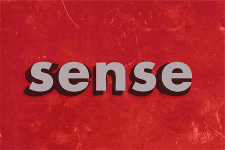 a sense of: sense vector word on red concrete wall Illustration