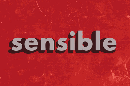 sensible: sensible vector word on red concrete wall