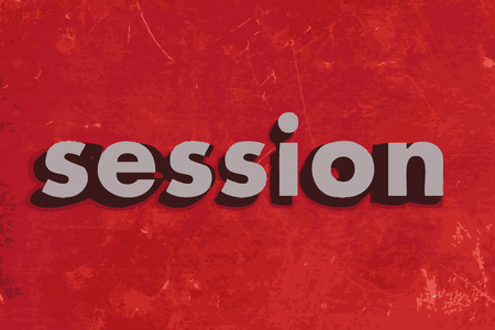 session: session vector word on red concrete wall