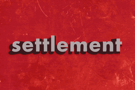 the settlement: settlement vector word on red concrete wall Illustration