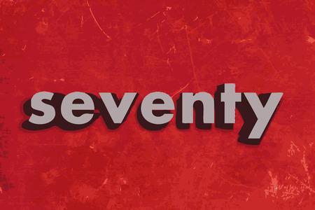 seventy: settanta vettore parola sul muro di cemento rosso