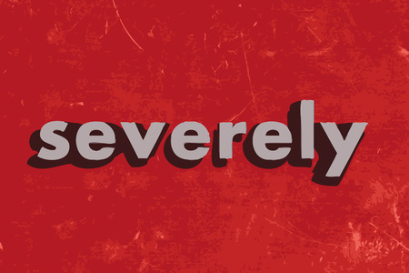 severely: severely vector word on red concrete wall