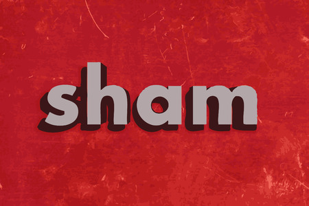 sham: sham vector word on red concrete wall Illustration