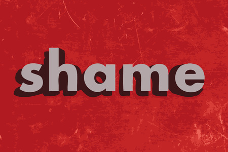 shame: shame vector word on red concrete wall