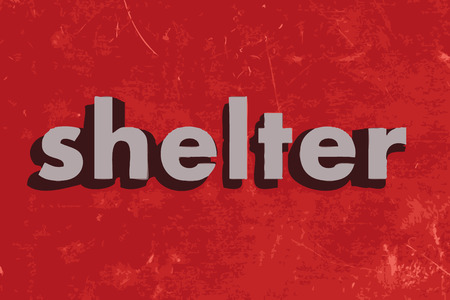 shelter: shelter vector word on red concrete wall
