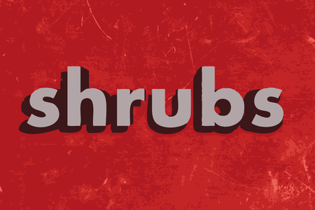 shrubs: shrubs vector word on red concrete wall