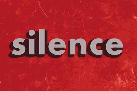 silence: silence vector word on red concrete wall Illustration
