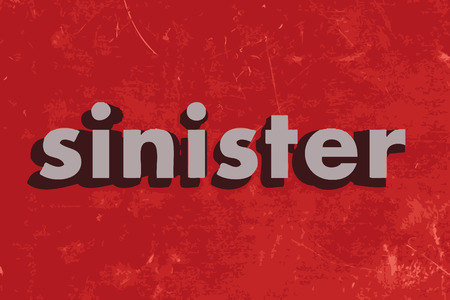 sinister: sinister vector word on red concrete wall Illustration