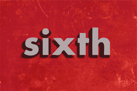 the sixth: sixth vector word on red concrete wall Illustration