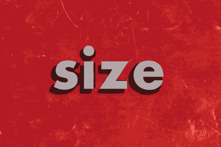 size: size vector word on red concrete wall