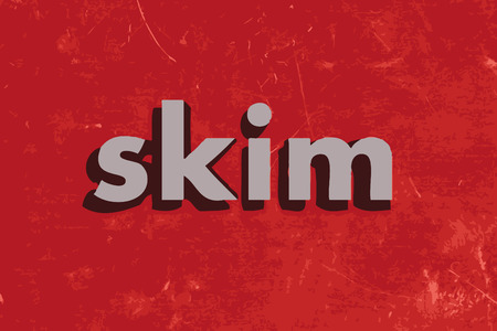 skim: skim vector word on red concrete wall