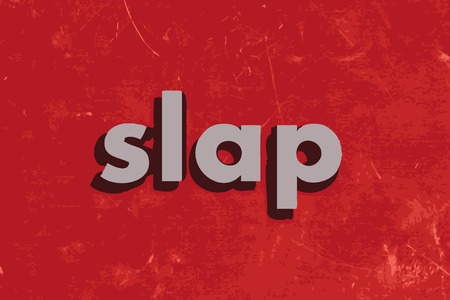 slap: slap vector word on red concrete wall